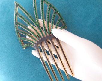 antique hair comb / 1910s-20s Edwardian Art Deco pierced Celluoid Emerald Green crystal rhinestones Peineta Mantilla Comb