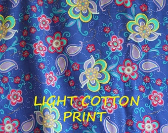 Blue Mod Paisley Floral Print, Fashion or Craft Fabric, Pink Yellow Purple Flowers, Lightweight Cotton, half yard, B29