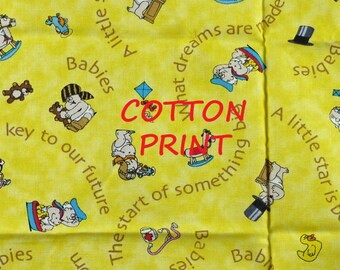 Yellow Babies Print, Quilting Cotton Fabric, Key to the Future, Becky and Me, half yard, B4