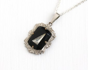 Sale - Vintage Art Deco Silver Tone Black & Clear Glass Necklace - 1930s Simulated Onyx Flower Pendant Sterling Silver Chain Jewelry