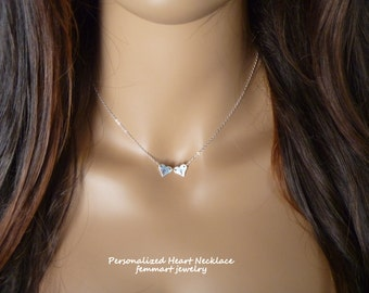 Choker Heart Necklace, Personalized Necklace, Handmade by Femmart, Custom Initial, Fine Silver Heart, Sterling silver chain