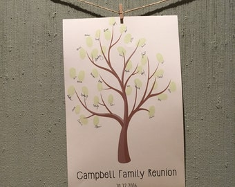 Family Reunion or Party Guestbook Fingerprint/Thumbprint Print - Family Tree