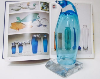 Blenko Art Glass Penguin Ice Flow Base Don Shepherd Azure Blue Book Piece