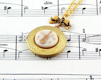 Violin Necklace, Music Locket, Vintage Locket Necklace, Music Jewellery