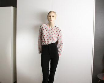 red polka dots tiny black polka dots blouse vintage 1980s shoulder buttons white