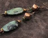 Kambaba earrings: green kambaba and fancy jasper, garnet, copper, brass