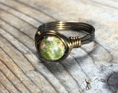 green Unakite stone antique brass gold wire wrapped Ring - size 9.25 , 9 1/4 - handmade - natural earthy women men unisex jewelry wrap