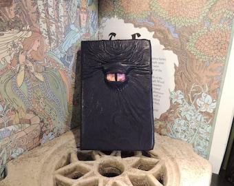 Mythical Beast Book (Dark Blue  leather with Orange/Purple eye)