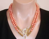 SHOP CLOSING SALE: Ashira Peach Orange Fresh Water Pearls & Unakite Pendant Gemstone Necklace with Toggle