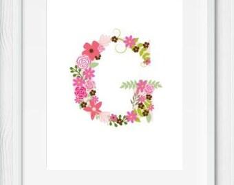 Floral Letter Nursery, Floral Nursery Decor, Floral Nursery Print, Floral Nursery Prints, Floral Nursery Wall Decor, Floral Nursery Wall Art
