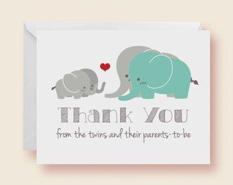 Set of 10 - Gender Neutral Twin Elephants Baby Shower Thank-You Cards