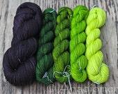 Cloud Sock Shawl Kit- Green Pastures gradient - Colour Adventures (fibers: merino, cashmere, nylon)