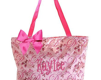 PERSONALIZED Pink Satin Ballet Slipper Pattern Large Dance Bag