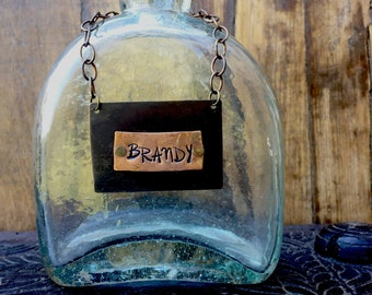 CUSTOM Liquor Bottle Tag. Custom Decanter Label. Decanter Tag. BRANDY bottle tagl. The  Spirited Bottle Tag™ Collection. The Riveted Series™
