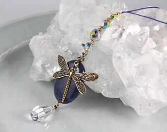 Dragonfly Car Charm, Natural Gemstone, Road Totem, Car Accessory, Rear View Mirror Charm, Car Decoration, Sun Catcher, Dragonfly Charm, Yoga