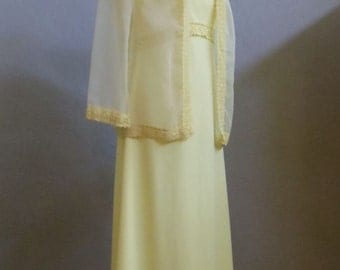 "Vintage 60's-70's Yellow Maxi Dress Sheer Jacket Both Accented Yellow Lace Trim Bust 36"" Midriff 30"""