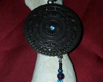 Goddess Bracelet ~ Amethyst & Glass Beads with Shield ~ Slave Bracelet