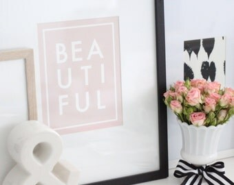 BEAUTIFUL PRINT // BEAUTIFUL art // the word beautiful // Typography Print // pink artwork for girls room / children's room art / Size 8x10