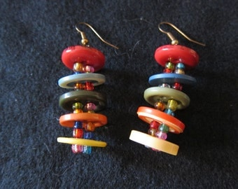 Vintage Multi-colored Stacked Button Earrings