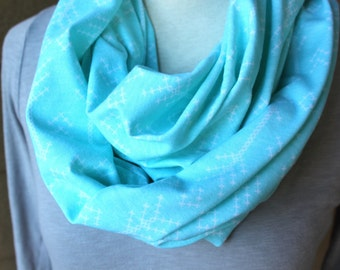 Arrow Infinity Scarf - Light Blue Arrows Spring Cowl - Jersey Circle Scarf - Light Scarf, Double Loop Scarf, Pastel Blue Arrows, Baby Blue