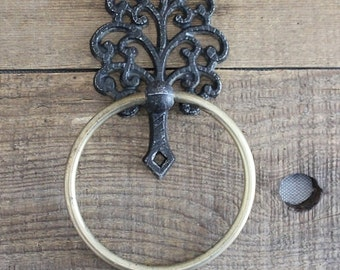 Vintage Wilton faux iron and brass ring towel hook, kitchen hook, bathroom hook
