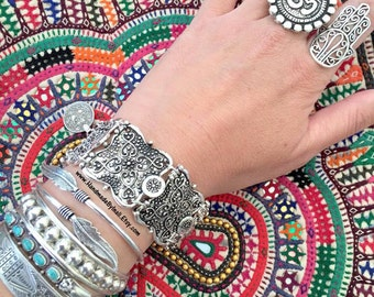 Antique silver Wide linked Bracelet Moroccan ethnic floral pettern adjustable stackable Bohemian bracelet by Inali