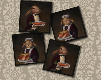 Edwardian Rabbit Coasters - Rabbit Coaster Set - Downton Abbey - Victorian