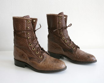 Stamped Brown Lace up Boots 6