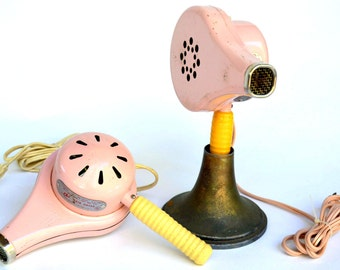 "Vintage Pink Hair Dryer Set: Matching, WORKING Metal Midcentury ""Chic"" Electric Blow Dryer Set -- Stylist, Esthetician, Beauty Salon, Vanity"