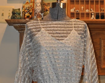 Beautiful 70's Sheer Purple Floral Handkerchief Dress