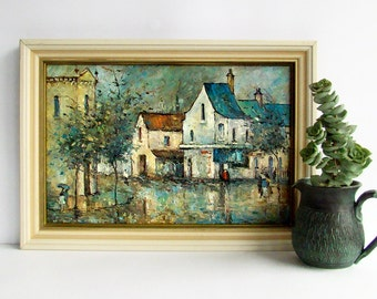 Mid Century Art Print, Impressionist Painting Print, Rainy Street, French Street Scene, 1960s Wall Art,