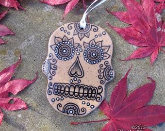 SALE Skull Ornament - ceramic halloween day of the dead dia de los muertos weird christmas holiday home decor