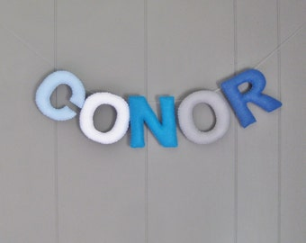 Felt Name Banner Nursery Garland Bunting / Personalized Custom Sign / Baby Shower Gift Decor / Kids Room / Hanging Wall Letters Multi Color