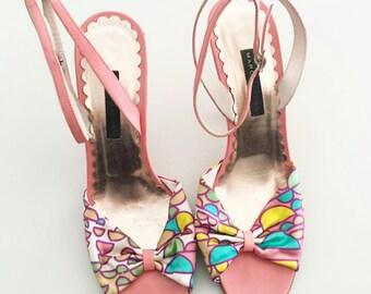 Vintage Marc Jacobs Pink Sandals, Vintage Coral Pattern Heels