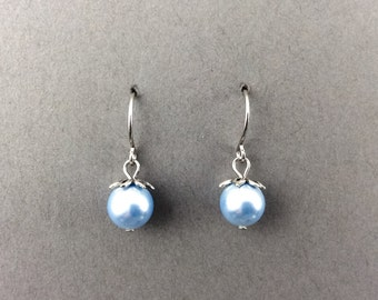 Pearl Earrings In Silver With Light Blue Swarovski Crystal Pearls And Silver Flower Beadcaps