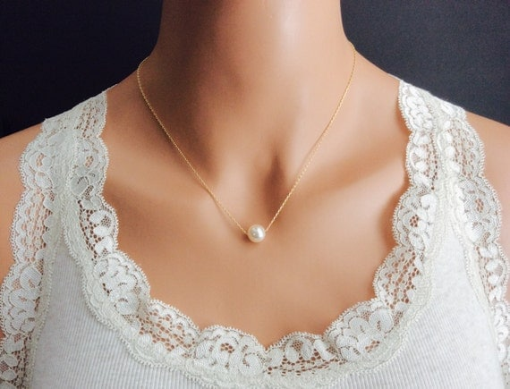 Bridal Pearl Necklace In Gold Chain With Cream Rose Swarovski Pearl 18 Inches