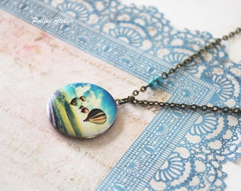 Hot Air Balloon Locket Necklace. Vintage Style Locket Necklace. Photo Necklace. Hot Air Balloon. Gift For Her  (Ln-28)