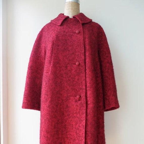 Vintage 1960's/Red Wool Tweed Coat/60's Red Coat/Mad