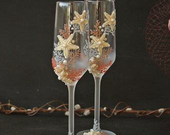 Beach Wedding Glasses, Coral Glasses, Starfish Glasses, Champagne Glasses, Hand Painted, Set of 2