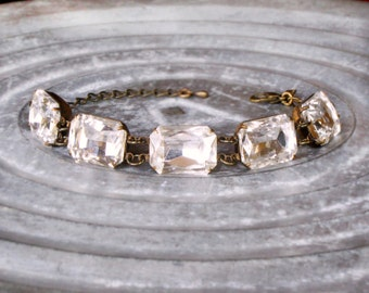 Multistone Jewelry - Five Stone Bracelet - Emerald Cut - Stackable Bracelet - Layering Bracelet - April Birthstone - Everyday Jewelry