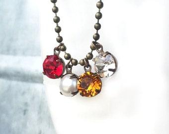 Personalized Family Jewelry - Family Tree Necklace - Gift Necklace for Aunt - Gift Necklace for Mother - Custom Birthstone Jewelry