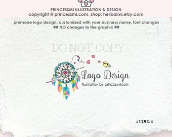 1293-4,  dreamcatcher logo, logo and business card set, banner, hand drawn , dreamcatcher feathers illustration photography logo