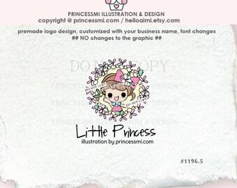 1196-5  cute girl logo, doll logo, girl business logo, kids business logo, bow, boutique logo,hair accessories, kids, character logo