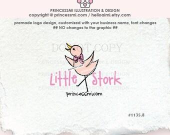 1135-8 stork logo, cute little stork logo, bird, hand drawn, doodle logo, photography logo , business logo illustration by princessmi