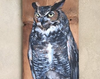 "Great Horned Owl Barn Wood Painting • Original 7"" x 14"" Oil on Barn Wood • Ready to Ship"