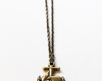 "Miyu Decay ""Amor et Fidelitas"" Anchor Brass Necklace"