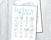 Printable Simply Modern Wedding Itinerary Timeline with Welcome Letter