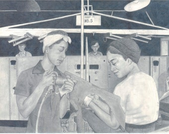 Black Rosie the Riveter -  Pencil Drawing - Women At Work 8.5 x 11 Print