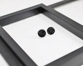 Black Druzy Earrings, Stud Earrings, Druzy Stud Earrings, Black Stud Earrings, Faux Druzy Earrings, Black Earrings, Faux Plugs,Free Shipping
