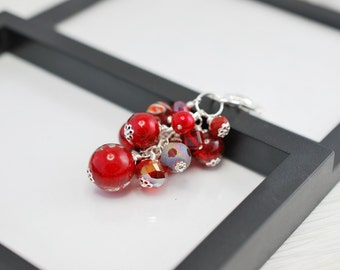 Red Purse Charm, Red Beaded Purse Charm, Purse Charm, Beaded Purse Charm, Keychain, Zipper Pull, Red and Silver, Gift For Her, Free Shipping